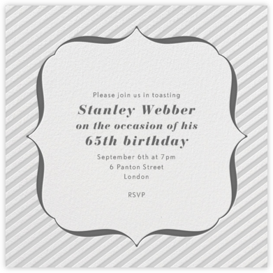 Circus Stripe - Winter Gray and Charcoal - Paperless Post - Adult Birthday Invitations