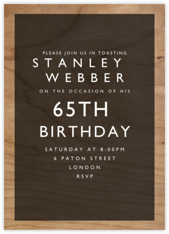 Wood Grain Color Block - Black - Paperless Post - Adult Birthday Invitations