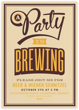 A Party Is Brewing - Crate & Barrel - Oktoberfest invitations