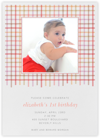 Tattersall - Blossom - Paperless Post - First Birthday Invitations
