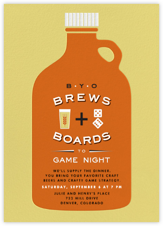 BYOB Game Night - Crate & Barrel - Invitations