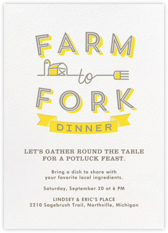 Farm to Fork Dinner - Crate & Barrel - Invitations