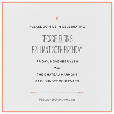The Raleigh - Guava - Mr. Boddington's Studio - Adult Birthday Invitations