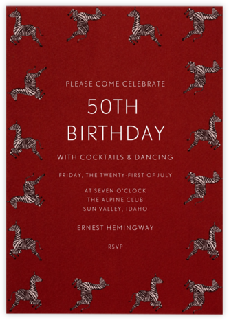 Zebras - Paperless Post - Adult Birthday Invitations