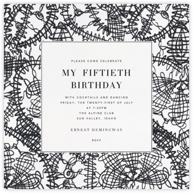 Scribble Print - Oscar de la Renta - Adult Birthday Invitations