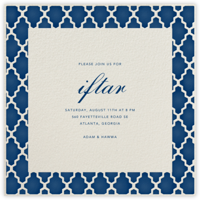 Marrakesh - Dark Blue (Square) - Paperless Post - Ramadan and Eid invitations