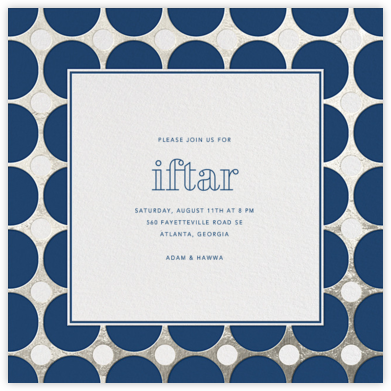 Polka - Navy and Silver - Jonathan Adler - Ramadan and Eid invitations