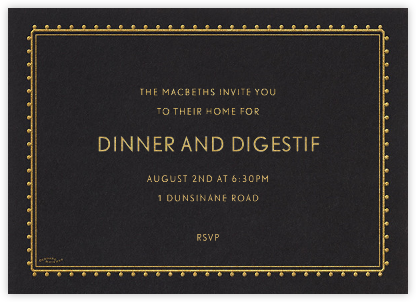 Dotted Border - Black - Bernard Maisner - Dinner party invitations