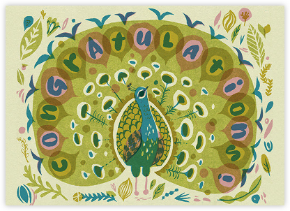 Peacock Congrats (Meg Hunt) - Red Cap Cards -