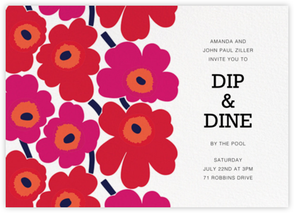 Unikko (Horizontal) - Red - Marimekko - Summer Party Invitations