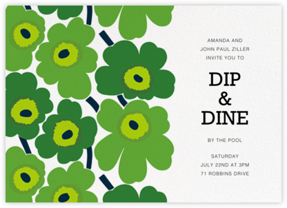 Unikko (Horizontal) - Green - Marimekko - Summer entertaining invitations