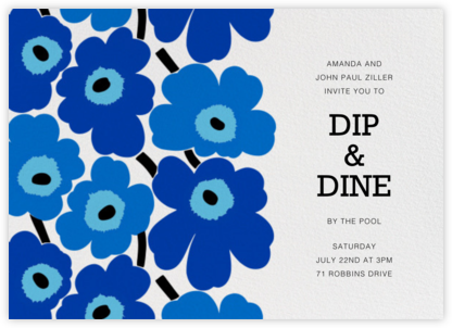 Unikko (Horizontal) - Blue - Marimekko - Pool Party Invitations