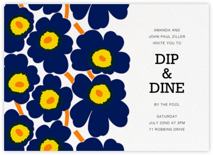 Unikko (Horizontal) - Dark Blue - Marimekko - Summer Party Invitations