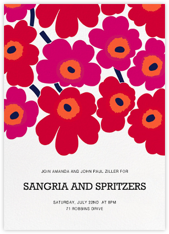 Unikko (Tall) - Red - Marimekko - Summer Party Invitations