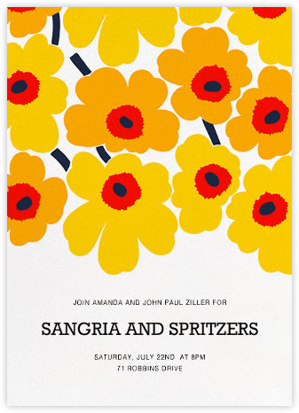 Unikko (Tall) - Yellow - Marimekko - Dinner party invitations