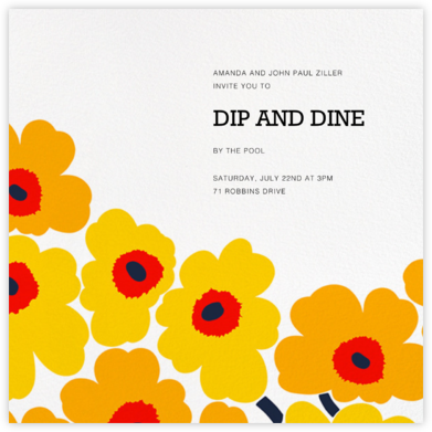 Unikko (Square) - Yellow - Marimekko - Pool Party Invitations