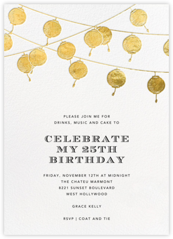 Lanterns - Gold - Paperless Post - Adult birthday invitations