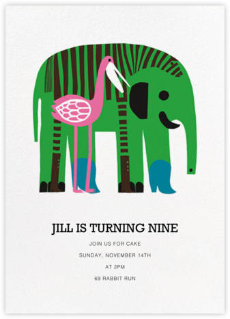 Karkuteilla - Green - Marimekko - Online Kids' Birthday Invitations