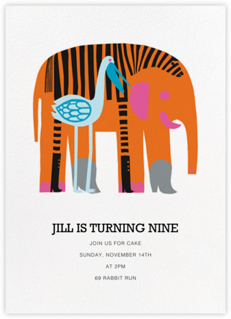 Karkuteilla - Orange - Marimekko - Online Kids' Birthday Invitations
