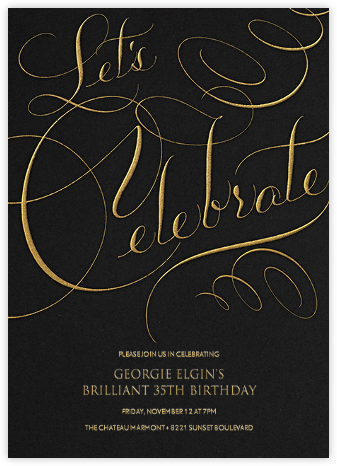 Let's Celebrate Script - Black - Bernard Maisner - Adult Birthday Invitations