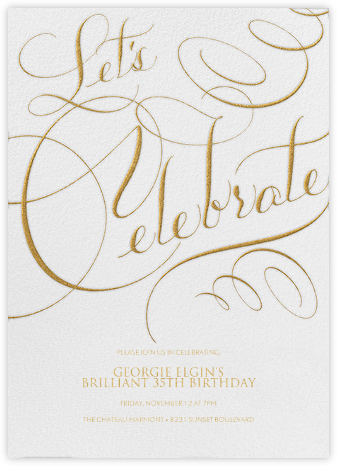 Let's Celebrate Script - Ivory - Bernard Maisner - Adult birthday invitations