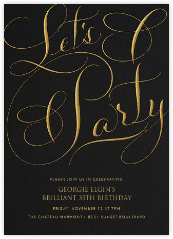 Let's Party Script - Black - Bernard Maisner - Adult Birthday Invitations
