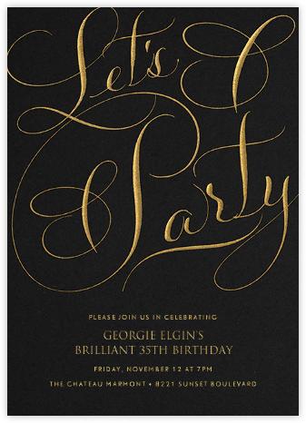 Let's Party Script - Black - Bernard Maisner - Adult birthday invitations
