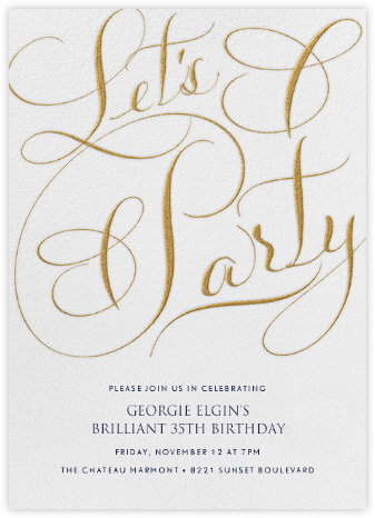 Let's Party Script - Ivory - Bernard Maisner - Adult Birthday Invitations