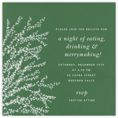 Forsythia - Moss - Paperless Post - Winter Party Invitations