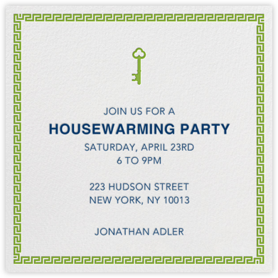 Golden Key - Green - Jonathan Adler - Housewarming party invitations
