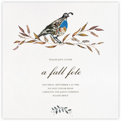 Quail's Tail - Happy Menocal - Autumn entertaining invitations