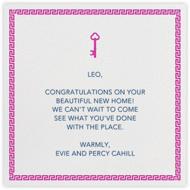 Golden Key - Magenta - Jonathan Adler - Congratulations cards