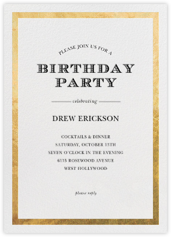 Classic Birthday - Sugar Paper - Adult birthday invitations