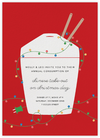 Christmas Take-Out - Red - Paperless Post - Online Party Invitations
