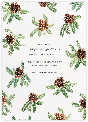 Painted Pine Cones - Paperless Post - Winter Party Invitations