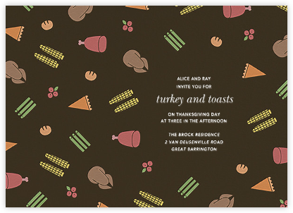 Turkey Ditsy  - Paperless Post - Thanksgiving invitations
