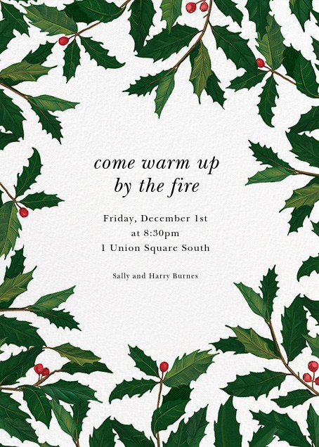 English Holly (Border) - Paperless Post - Holiday party invitations