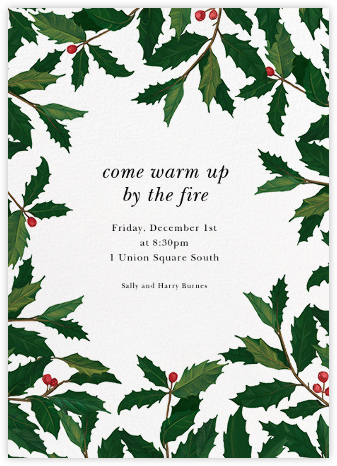 English Holly (Border) - Paperless Post - Christmas invitations