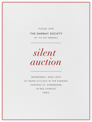 Ivory Stained Edge (Red) - Paperless Post - Charity and fundraiser invitations