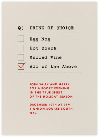 Drink of Choice - Paperless Post - Holiday invitations