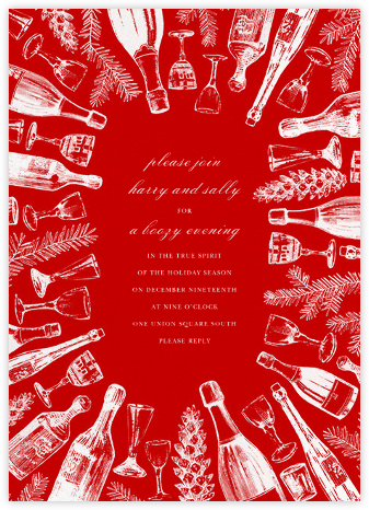 Holiday Spirits - Red/White - Paperless Post - New Year's Eve Invitations