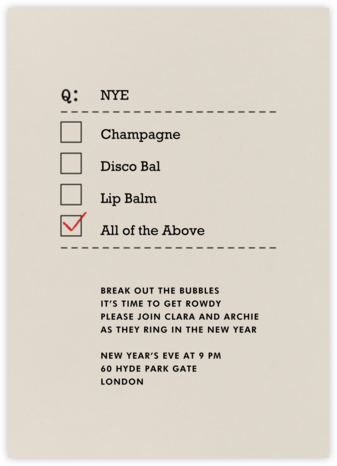 NYE, Champagne, and Lip Balm - Paperless Post - New Year's Eve Invitations