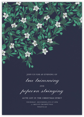 Snowrose Hedge - Navy - Paperless Post - Holiday invitations