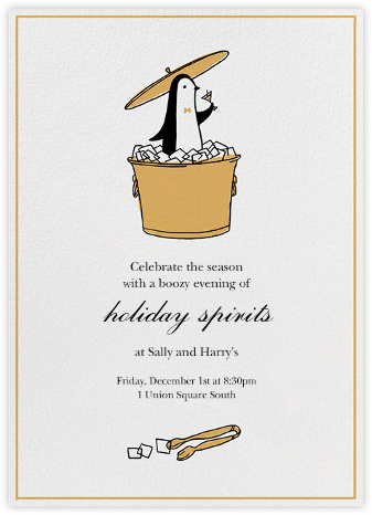 Butler in the Ice Bucket - Apricot - Paperless Post - Holiday invitations