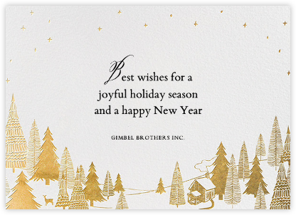 Snow Pine Valley (Horizontal) - Gold - Paperless Post - New Year Cards