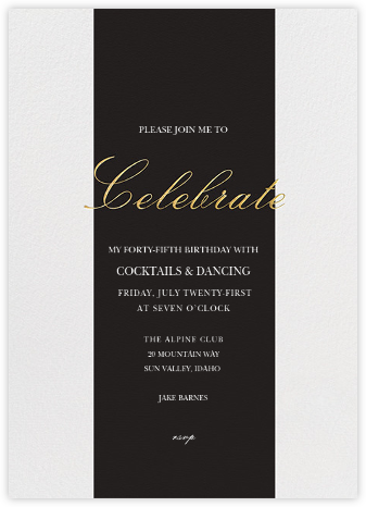 Celebration Stripe - Black/Gold - Sugar Paper - Adult Birthday Invitations