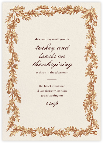 Quercus Border - Paperless Post - Thanksgiving invitations