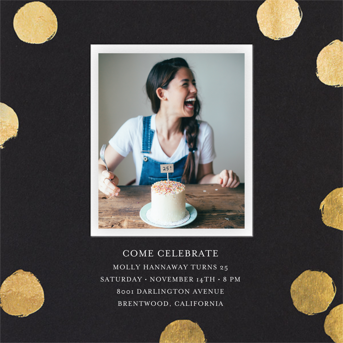 Reese (Photo) - Black/Gold - Sugar Paper - Adult birthday invitations