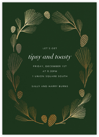 Sugar Pine - Hunter/Gold - Paperless Post - Winter Party Invitations