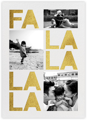 Fa Lalala La - Gold - Paperless Post - Holiday Cards